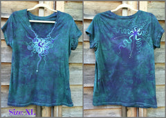 Light Teal Moon Star Handmade Batik Vneck Tee - Batikwalla   - 8