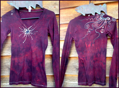 Dark Rust Center Star Handmade Long Sleeve Batik Vneck - Small - Batikwalla   - 4