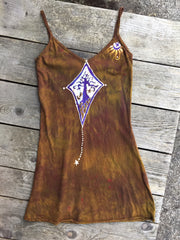 Diamond Tree in Dark Gold Long Summer Batik Camisole - Batikwalla   - 2