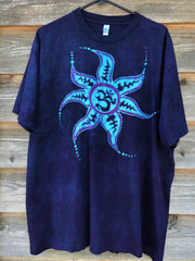 Deep Blue and Purple Om Sun Hand Painted Tshirt - Size XL Tshirts batikwalla