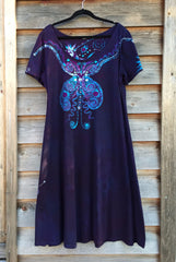 Midnight Magic Batik Butterfly - Short Sleeve Dress - Batikwalla   - 2