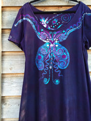 Midnight Magic Batik Butterfly - Short Sleeve Dress - Batikwalla   - 1