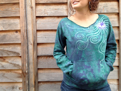 Teal Moon Long Sleeve Batik Cozy Shirt - Batikwalla   - 6