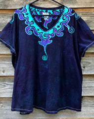 Purple and Turquoise Waves of Moonlight Hand Painted Batik Vneck - Plus Size 4X