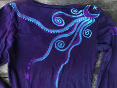 Midnight Purple and Navy Blue Long Sleeve Vneck Tee - Size XL ONLY