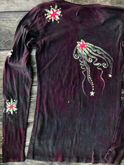 Punk Rock Urban Forest Long Sleeve Batik Tee