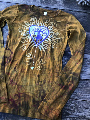 Brilliant Gold Tree Heart Long Sleeve Tee - Size 2X ONLY