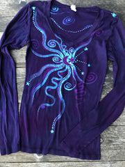 Midnight Purple and Navy Blue Long Sleeve Vneck Tee
