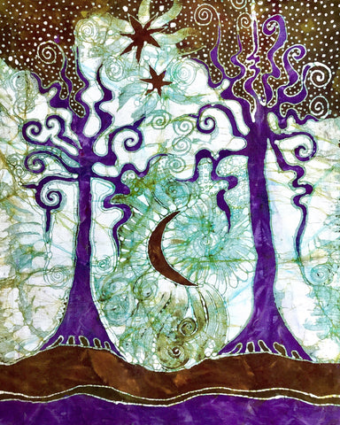 Two Trees Batik Art Print