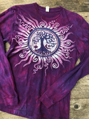 Mulberry Tree of Life Long Sleeve Batik Tshirt - Size Medium tshirt batikwalla