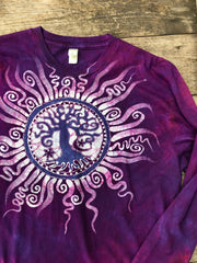 Mulberry Tree of Life Long Sleeve Organic Cotton Tshirt - Size XL tshirt batikwalla