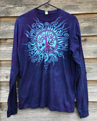 Moonlight Mandala Tree of Life Long Sleeve Organic Cotton Tshirt - Size Large tshirt batikwalla