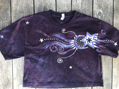 Marooned In The Galaxy Of Starlight Oversize Crop Top Batikwalla by Victoria