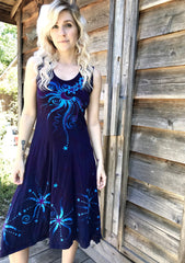 Midnight Moonbeams & Purple Starglow Boho Batik Summer Dress Batik Dresses Batikwalla