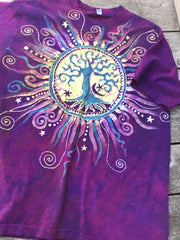 Soul Light Tree of Life Organic Cotton Tshirt - Size Large tshirt batikwalla