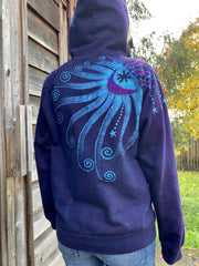 Deep Blue And Purple Moon Star Pullover Batik Hoodie - Handcrafted In Organic Cotton hoodie batikwalla