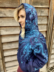 Blue Moon Magic Pullover Hoodie - Handcrafted Batik Creation - For Purple Lightworkers hoodie batikwalla