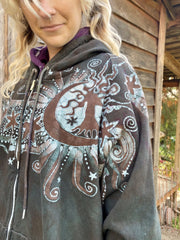 Desert Sage Moonlight Guides Us To The Forest Organic Cotton Batik Hoodie hoodie batikwalla