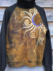 Gold and Purple Moon Star Handmade Batik Hoodie - Batikwalla   - 4