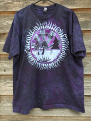 Sacred Psychedelic Forest Handmade Batikwalla Tshirt in Purple At Midnight - size XL ONLY tshirt batikwalla