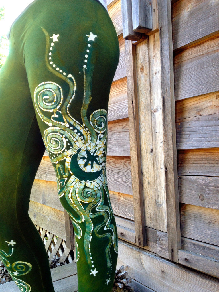 Dancing Green Batik Leggings - In Stock - Size XL - Batikwalla   - 1