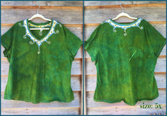 Dancing Green Meadow Batik Necklace Vneck - Size 5X - Batikwalla   - 7