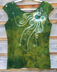 Moon Beams In Dancing Green Batik Top - Batikwalla   - 5