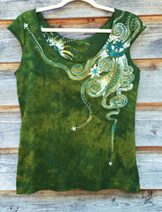 Moon Beams In Dancing Green Batik Top - Batikwalla   - 6
