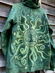 Magic Lime Tree Of Life Zipper Batik Hoodie - Handcrafted In Organic Cotton Size 2X & XL ONLY hoodie batikwalla
