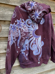 Tree Moon Magic All Around Me in Burgundy Purple Pullover Hoodie - Handcrafted Batik - Size SMALL hoodie batikwalla