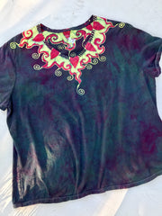 Ruby Gems Necklace Handmade Batik Summer Vneck Tee - Plus Size - 4X