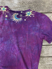 Centered In Light - HandCrafted Moons & Stars Vneck Tee Batikwalla by Victoria