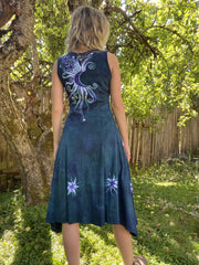 Teal and Purple Tree Loves The Moon Boho Batik Dress Batik Dresses Batikwalla