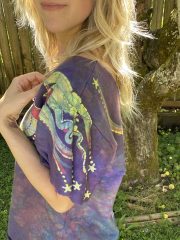 Smoky Purple Organic Cotton Handmade Batik Top - Medium