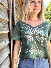 Sage Mint Crop Tee Organic Cotton Handmade Batik, Size Medium/Small Batik Dresses Batikwalla