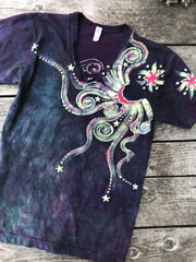 The Stars Will Guide Us Vneck Tee in Purple Batikwalla by Victoria Small