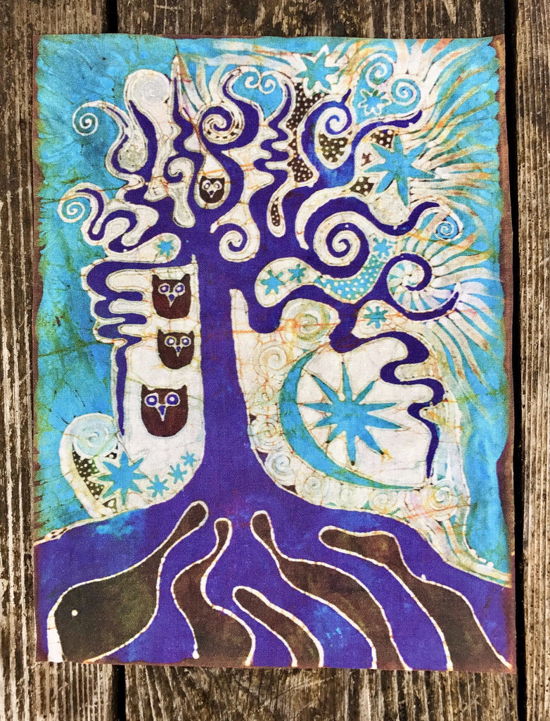 Purple Roots Tree With Owls Batik Fabric Print
