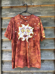 Sagacious Sun Sees Your Soul With Stars - Handmade Batik Tshirt - Size XL