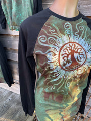 Green Tree of Life Sun Mandala Black Raglan Long Sleeve Batik by Batikwalla Batikwalla