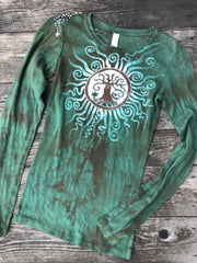 Green Tree of Life Sun Mandala Handmade Long Sleeve Batik Top