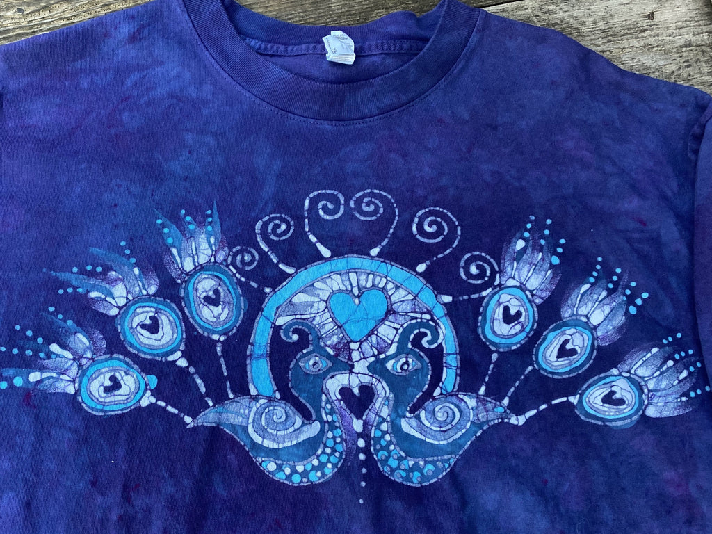 Kissing Peacocks Purple & Blue Handmade Batikwalla Tshirt Tshirts batikwalla