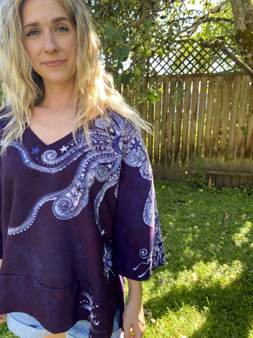 Plum Moon Deep Vneck Organic Cotton Handmade Batik Top, Size XL +