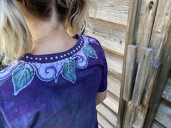 Secret Gardener - Soft Green & Purples Hand Painted Batik Tee Batikwalla by Victoria