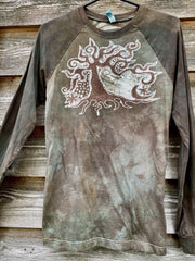 Earth Aura Tree - Raglan Long Sleeve Batik Top by Batikwalla - Size Small (unisex) Batikwalla