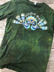 Kissing Peacocks Handmade GREEN Batik Tshirt - 2X Long ONLY tshirt batikwalla