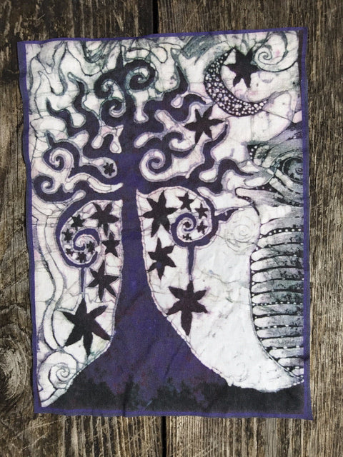 Midnight Tree Batik Fabric Print