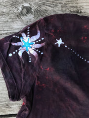 Rust and Turquoise Moon and Stars Hand Painted Tee
