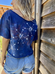 Blue Canoe Campers Tree Organic Cotton Handmade Batik Crop Tee, Size Medium/Large Batik Dresses Batikwalla
