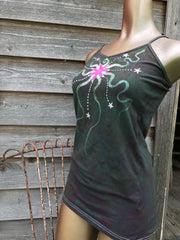 Tourmaline Temptation Moon and Star Stretchy Long Batik Camisole