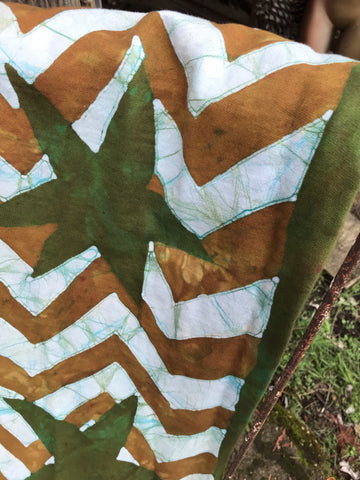 Zigzag Stars Soft Brown & Green - Thick Organic Cotton Fleece Hand Painted Scarf